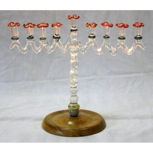 blown glass menorah with wood stand