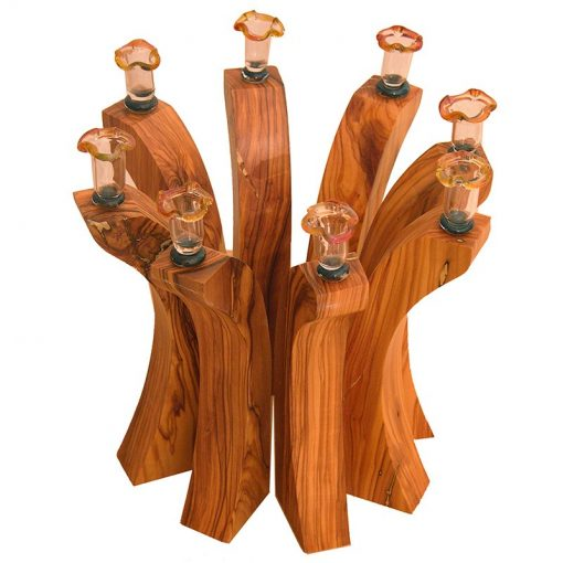 olive wood menorah in alternative set up
