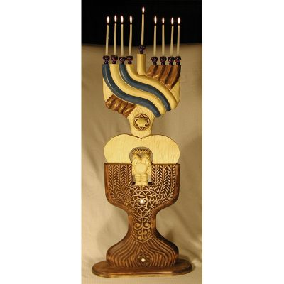 Eagle carved and painted menorah