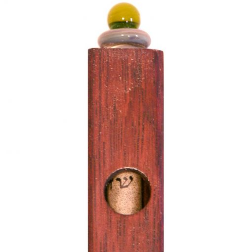 wood and glass mizuzah and shin window detail of the glass blowing
