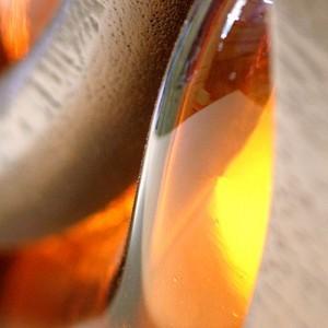 Mounted ner tamid for aron kodesh crown kiln slumped glass detail