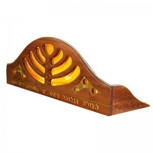Mounted ner tamid for aron kodesh crown from the side