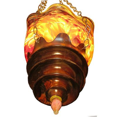 Gold sunrise eternal light with blown glass and lathed wood combination