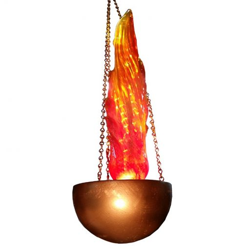 single flame ner tamid with gold base