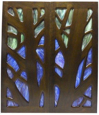 Wood and Glass Synagogue Doors