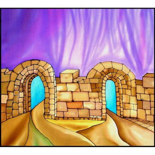 jerusalem gates silk painted curtains for mechitzah