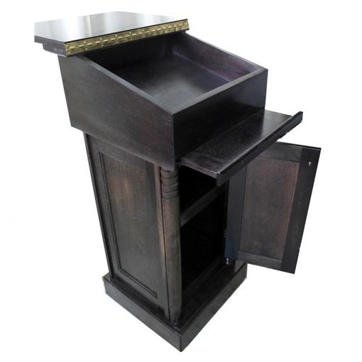 portable Wood Rabbi Podium opens for storage and sitting position