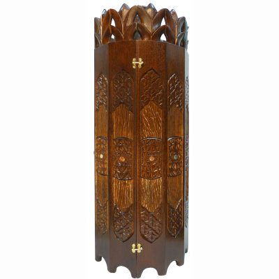 sephardi style torah case with palm tree motif