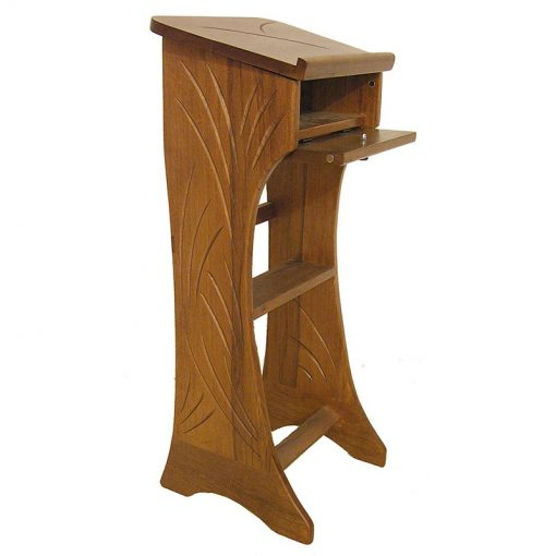 Light line shtender with open top box in solid wood