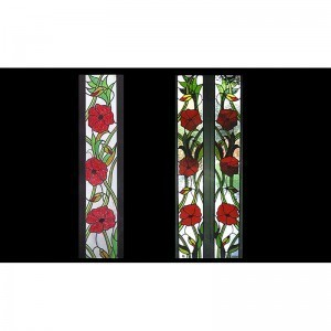Stained glass doors roses