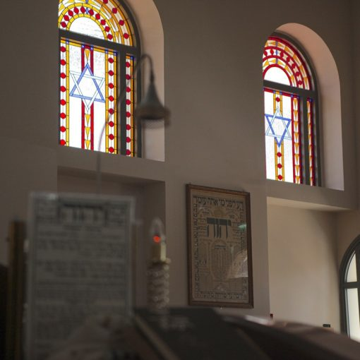 stained glass window designed and built for synagogue in Israel