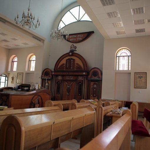 synagogue stained glass and woodwork