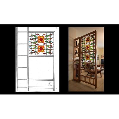 Stained glass doors room seperator