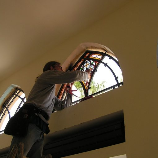 synagogue stained glass windows in dome shape installation