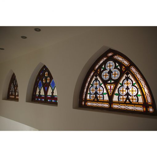 synagogue stained glass windows in dome shape series of three