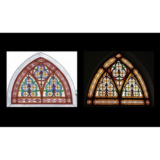 synagogue stained glass windows in dome shape sketch