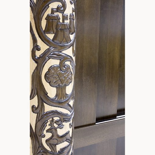 Carved column for aron kodesh with sliding doors and deep relief carving in chicago IL