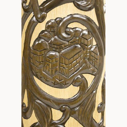 Carving of Jerusalem in deep relief for columns of aron kodesh in chaicago