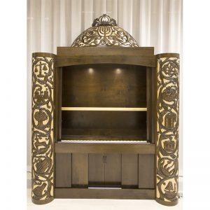 carved aron kodesh inside lighting LED