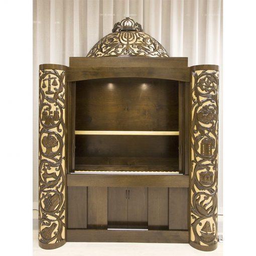 carved aron kodesh inside lighting LED