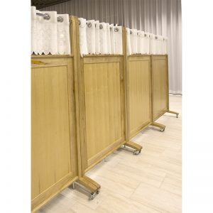 Wood mechitza with drapery and portable option