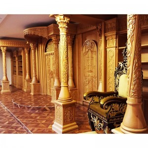 Carved columns with grape theme on sephardi synagogue interior