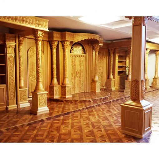 Synagogue Interior with columns and carving in solid wood