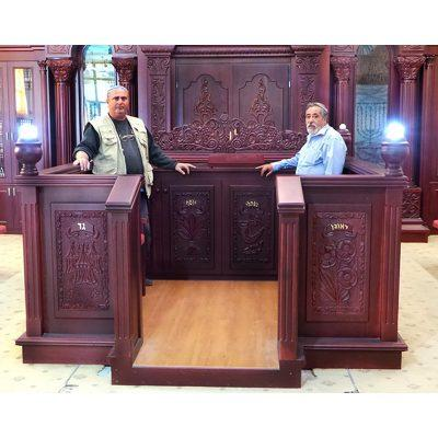 custom carved mohogany synagogue interior, aron kodesh, and bimah