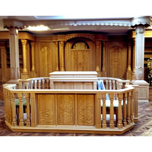 Synagogue Interior, aron kodesh, and bimah, carved by hand from solid wood in traditional style