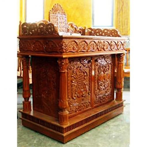 Bimah carved in deep relief with columns