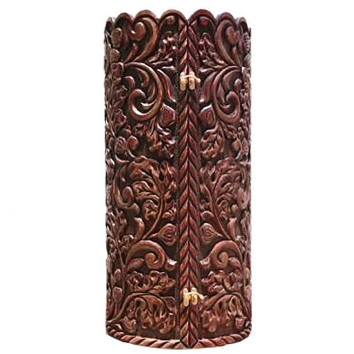 Carved Relief solid wood sephardi torah case