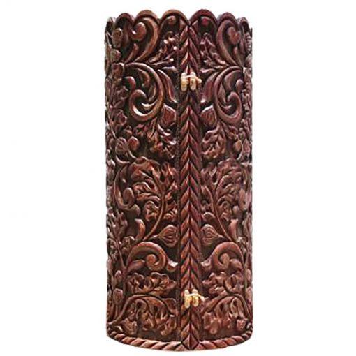 Carved Relief solid wood sephardi torah case