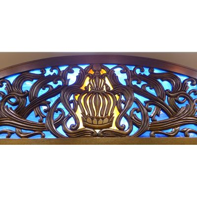 mounted aron kodesh ner tamid with stained glass and carving