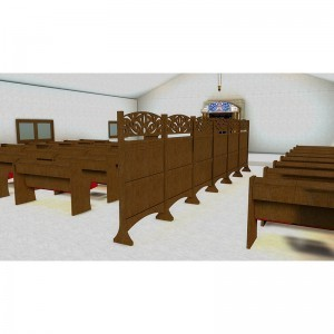 Synagogue Interior design with mechitza, pews, and room overview