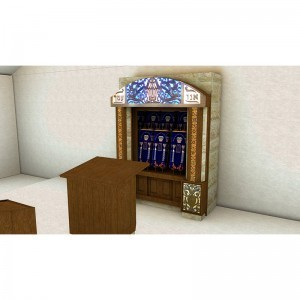 Synagogue interior design for sons of Israel with torahs