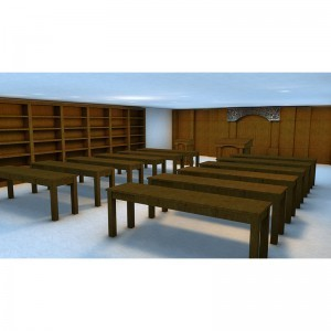 Interior Design for synagogue Tehillat Yisrael Toronto Tables and shelving