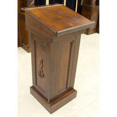 Custom designed and carved detail of wood podiums for synagogue