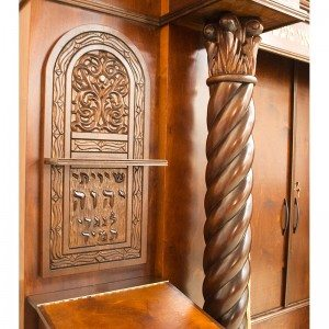 Custom designed and carved detail of wood aron kodesh for synagogue