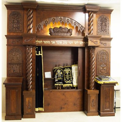 custom designed wood Aron Kodesh features hand carving open parochet