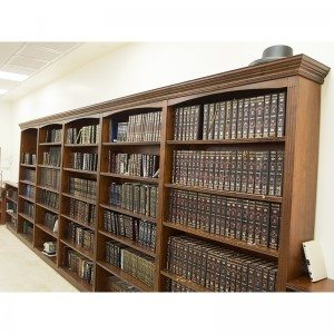 library book cases built from wood with molding for synagogue in Israel