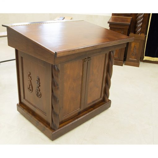 wood torah table with carving and angled table custom designed form synagogue in Israel