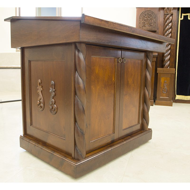 Wood Bimah With Carving And Angled Table With Hand Carved Wood Twists