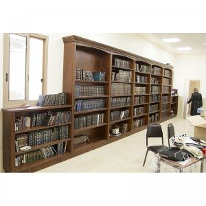library book shelves built from wood with molding for synagogue in Israel