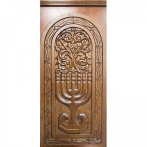 hand carved detail of recess wood menorah