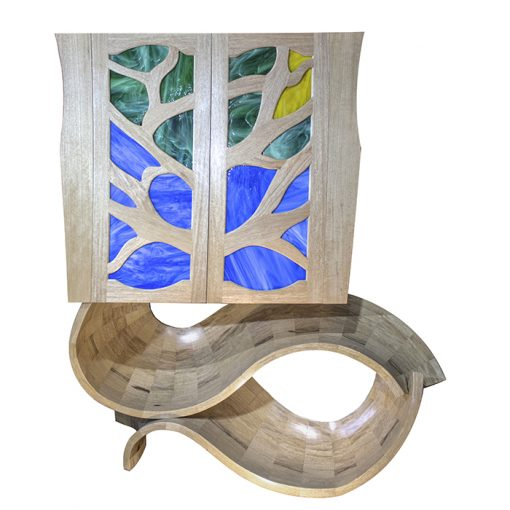 stained glass and wood aron kodesh