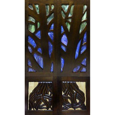 Torah Ark Doors in Carving and Stained Glass Custom built for Synagogue in Los Angeles