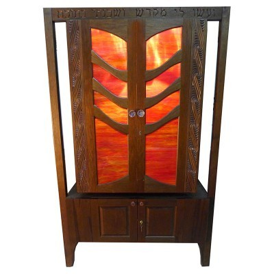 Stained glass torah ark with tree carving