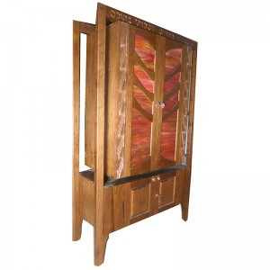 Stained glass hanging torah ark with tree carving