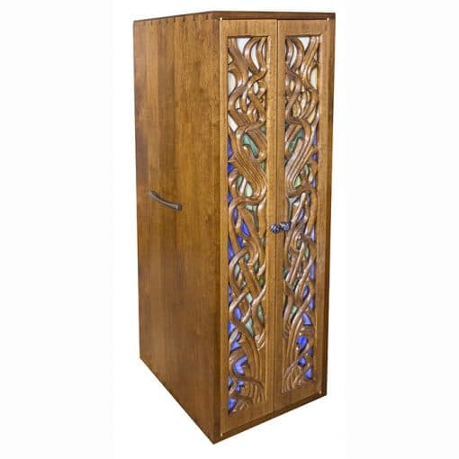 easy to carry torah ark with hand carved and glass doors