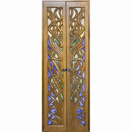 hand carved and stained glass portable wood torah ark